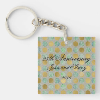 Gold and Teal Polka Dot Single-Sided Square Acrylic Keychain