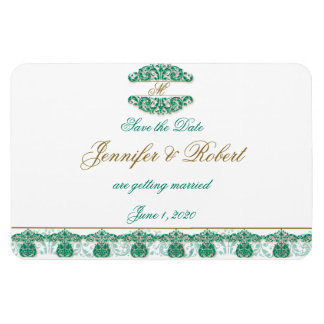 Gold and Teal Vintage Floral Scroll Save the Date Rectangle Magnets