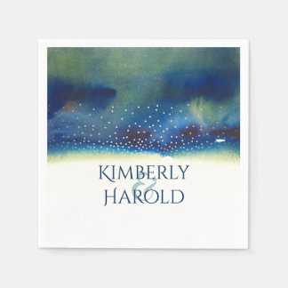 Gold and Teal Watercolor Glam Modern Wedding Paper Napkins
