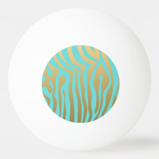 Gold and Tiffany Blue Zebra Stripes Pattern Ping Pong Ball