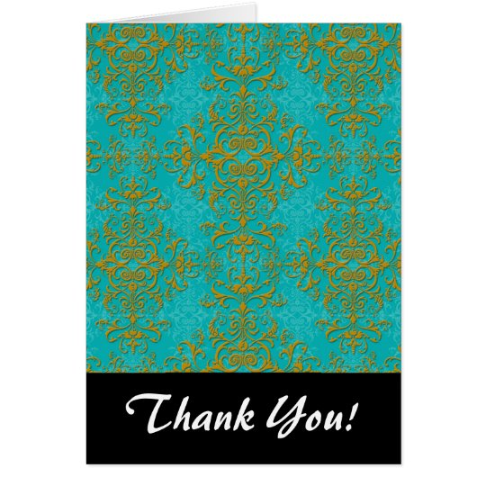 Gold and Turquoise Damask Style Pattern Card