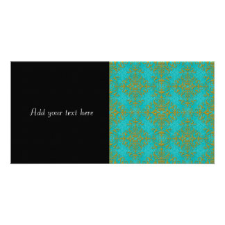 Gold and Turquoise Damask Style Pattern Photo Greeting Card