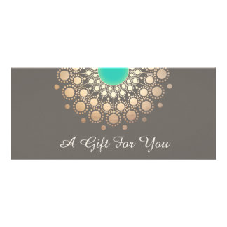 Gold and Turquoise Floral Mandala Gift Certificate Rack Cards