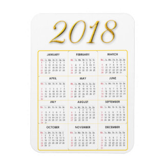 Gold and White 2018 Calendar Magnet
