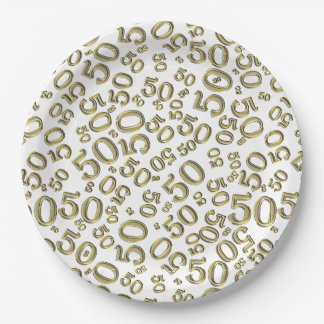 Gold and White 50th Birthday Party Collage Theme 9 Inch Paper Plate