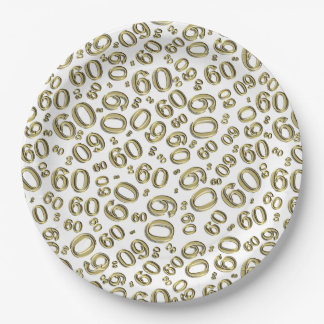 Gold and White 60th Birthday Party Collage Theme Paper Plate