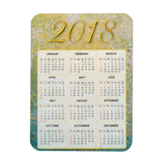 Gold and White Abstract 2018 Calendar Magnet