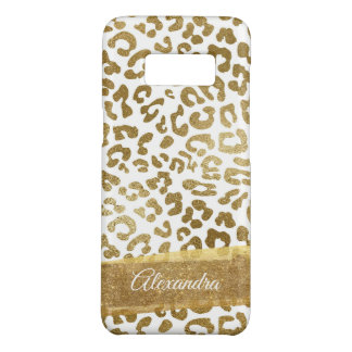 Gold and White Animal Print with Gold Glitter Case-Mate Samsung Galaxy S8 Case