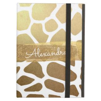 Gold and White Animal Print with Gold Glitter Cover For iPad Air