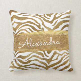 Gold and White Animal Print with Gold Glitter Throw Pillow