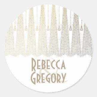 Gold and White Art Deco Chic Vintage Wedding Classic Round Sticker