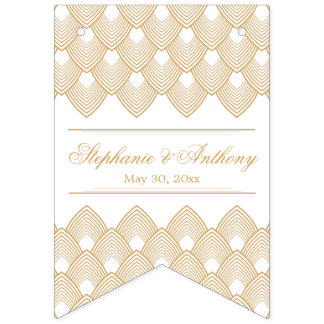 Gold and White Art Deco Pattern Wedding Bunting Flags
