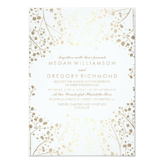 Gold and White Baby's Breath Floral Wedding Card