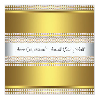 Gold and White Black Tie Corporate Party Card