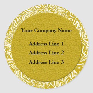Gold and White Business Address Labels Sticker