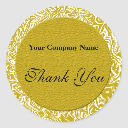 Gold and White Business Thank You Stickers