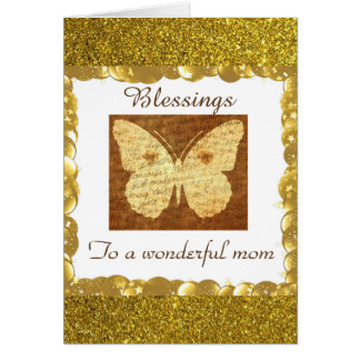 Gold and White Butterfly Blessings Card For Mother