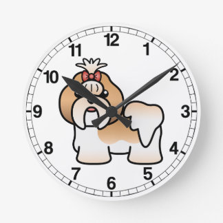 Gold And White Cartoon Shih Tzu Round Clock