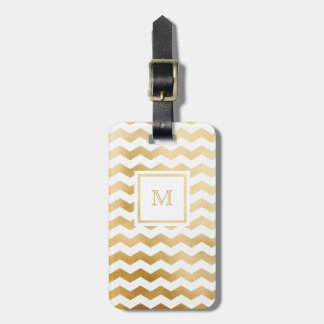 Gold and White Chevron Luggage Tag
