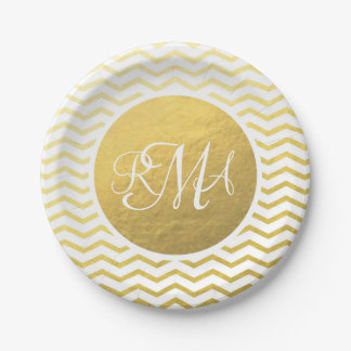 Gold and White Chevron Monogrammed Personalized Paper Plate