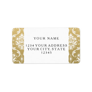 Gold and White Classic Damask Address Label