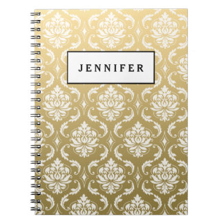 Gold and White Classic Damask Spiral Note Book
