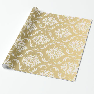 Gold and White Classic Damask Wrapping Paper