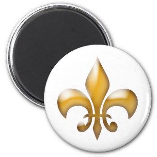 Gold and White Classic Fleur de Lis Magnet