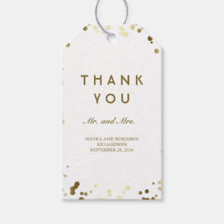Gold and White Confetti Elegant Wedding Gift Tags
