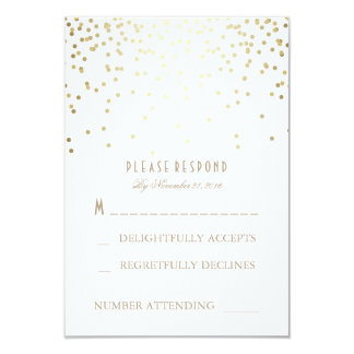 "Gold and White Confetti Wedding RSVP Cards 3.5"" X 5"" Invitation Card"
