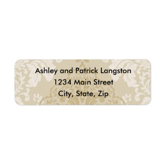 Gold and White Damask Address Labels