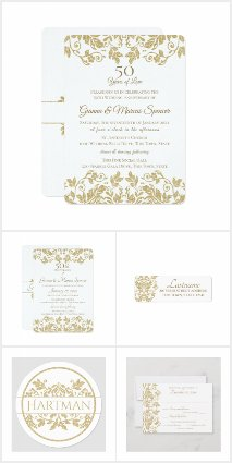 Gold and White Damask Invitations