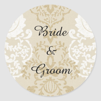 Gold and White Damask Name Stickers