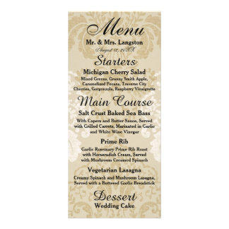 Gold and White Damask Reception Menu Personalized Rack Card