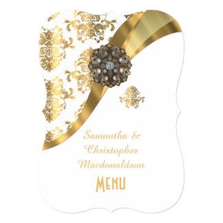 Gold and white damask wedding menu card