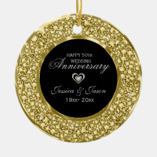 Gold And White Diamonds Silver Heart Round Ceramic Ornament