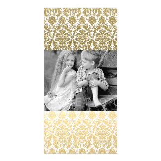 Gold and White Elegant Damask Pattern Photo Card Template