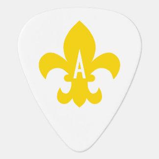 Gold and White Fleur de Lis Monogram Guitar Pick