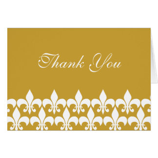 Gold and White Fleur de Lis Thank You Card