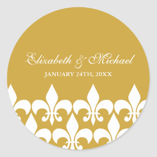 Gold and White Fleur de Lis Wedding Favor Label