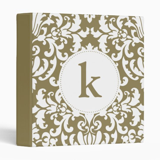 Gold and White Floral Lace Damask Monogram Binder