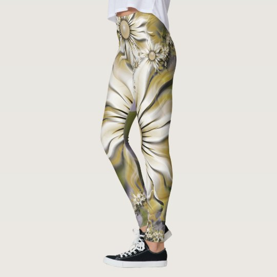Gold and White Floral on Lavender Leggings