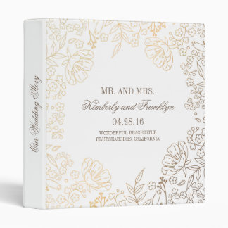 Gold and White Floral Vintage Wedding 3 Ring Binder