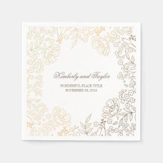 Gold and White Floral Vintage Wedding Paper Napkins