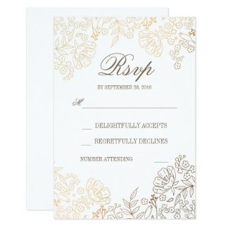"""Gold and White Floral Vintage Wedding RSVP Card 3.5"""" X 5"""" Invitation Card"""