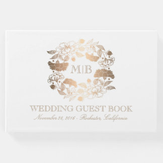 Gold and White Floral Wreath Elegant Wedding Guest Book