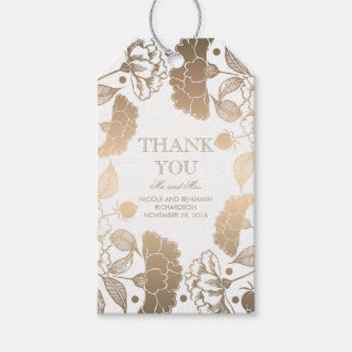 Gold and White Floral Wreath - Peonies Wedding Pack Of Gift Tags