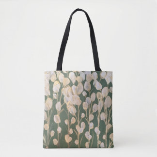 Gold and White Flowers Artwork Tote Bag