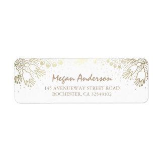 Gold and White Garden Wonderland Wedding Return Address Label