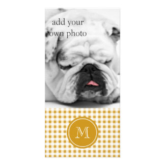 Gold and White Gingham, Your Monogram Card